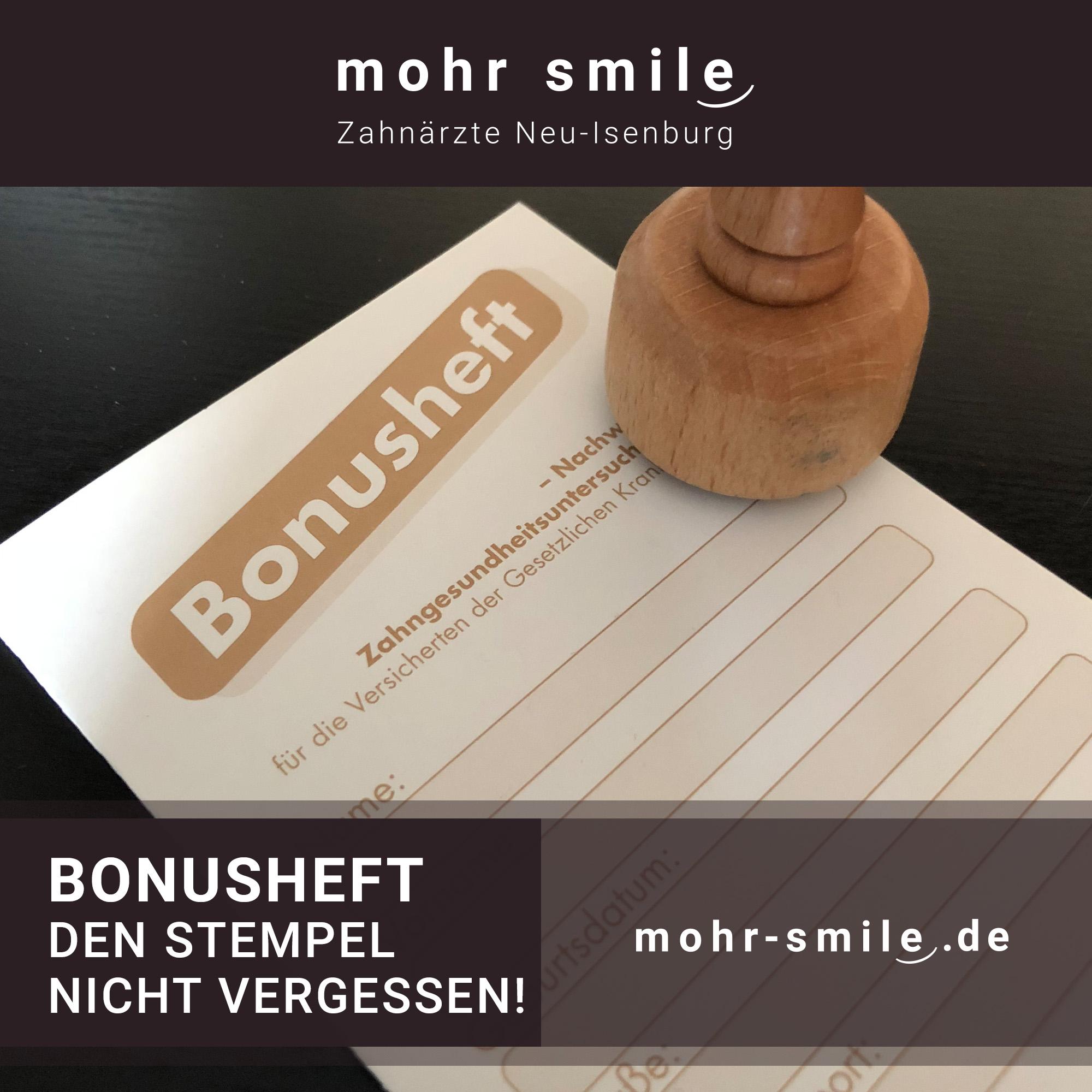 Bonusheft - Den Stempel nicht vergessen! Zahnarztpraxis mohr smile