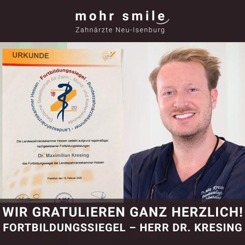 2020-03 Fortbildungssiegel - Zahnarzt Dr. Kresing