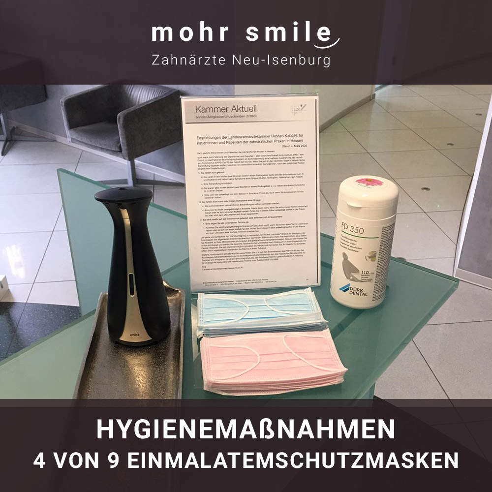 mohr smile - Hygienemaßnahmen 4 von 9 Einmal Atemschutzmasken