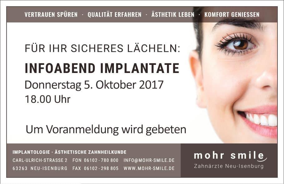 Zahnarztpraxis mohr smile - Implantologiesprechstunde - 2017 Oktober in Neu-Isenburg
