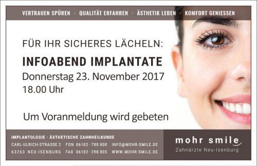 Zahnarztpraxis mohr smile - Implantologiesprechstunde - 2017 November in Neu-Isenburg