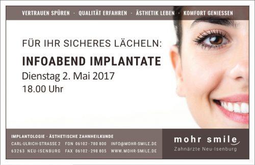 Zahnarztpraxis mohr-smile- 2017-05 Implantologiesprechstunde